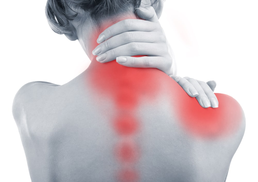 Woman's back and neck suffering from chronic pain